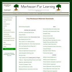 Free Montessori materials from Montessori for Learning