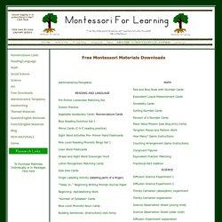 Free Montessori materials from Montessori for Learning