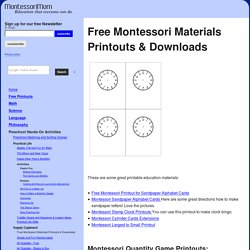 Free Montessori Materials Printouts & Downloads