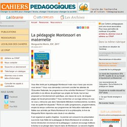 La pédagogie Montessori en maternelle