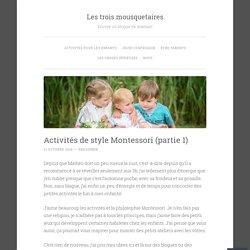 Activités de style Montessori (partie 1)