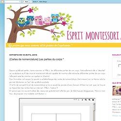 """Esprit Montessori au nid: {Cartes de nomenclature} Les parties du corps """""""
