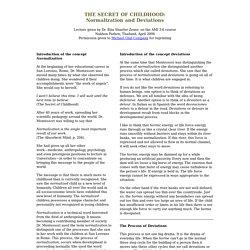Montessori lecture - The Secret of Childhood - Normalization