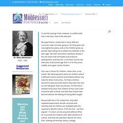 Dr. Maria Montessori: A Historical Perspective