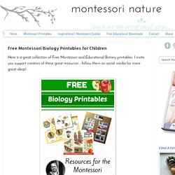 Free Montessori Biology Printables for Children