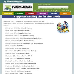 Suggested Reading List for First Grade