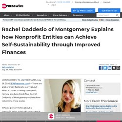 Rachel Daddesio of Montgomery Explains how Nonprofit Entities can Achieve Self-Sustainability through Improved Finances