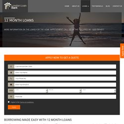 12 Month Loans with no Credit check & No Guarantor