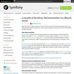A month of Symfony Documentation #4 (March 2015)