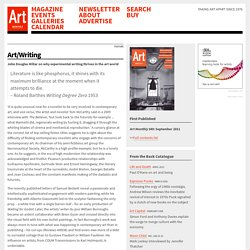 Art Monthly : Article : John Douglas Millar on why experimental writing thrives in the art world