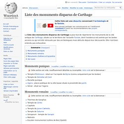 Liste des monuments disparus de Carthage