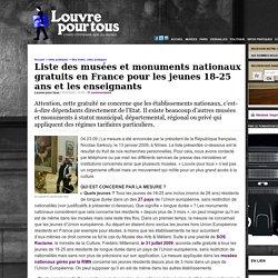 Liste des musées et monuments nationaux gratuits en France pour les jeunes 18-25 ans et les enseignants