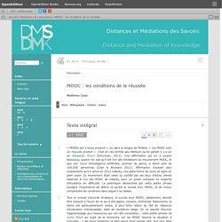 MOOC: les conditions de la réussite