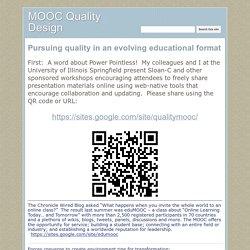 MOOC Quality Design