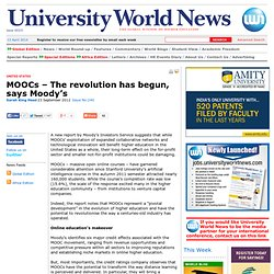 MOOCs – The revolution has begun, says Moody's