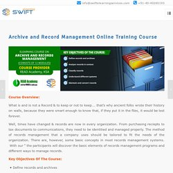 Archive and Record Management Online Training Course