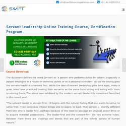 Servant leadership Online Training Course, Certification Program