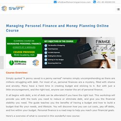 Managing Personel Finance and Money Planning Online Course