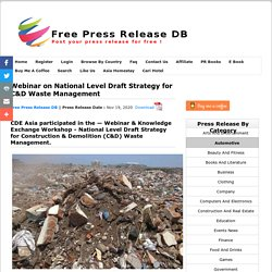 Webinar on National Level Draft Strategy for C&D Waste Management