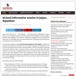 M-Sand informative session in Jaipur, Rajasthan