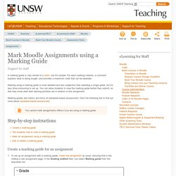 Mark Moodle Assignments using a Marking Guide