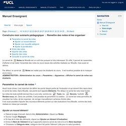 Moodle UCL: Manuel Enseignant