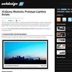 33 jQuery, Mootools, Prototype Lightbox Scripts for Images and Galleries