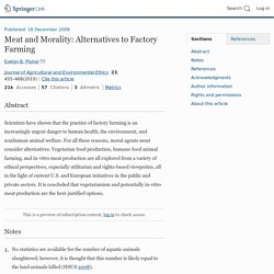 Meat and Morality: Alternatives to Factory Farming