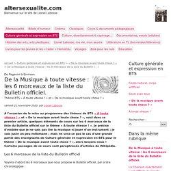De la Musique à toute vitesse : les 6 morceaux de la liste du Bulletin (...) - altersexualite.com