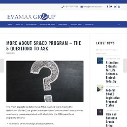 More about SR&ED Program – The 5 Questions to Ask