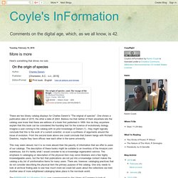 Coyle's InFormation: More is more
