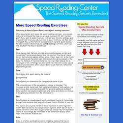 more speed reading exercises