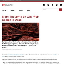More Thoughts on Why Web Design is Dead