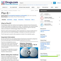 Plan B (Morning-After Pill) Uses, Side Effects & Warnings