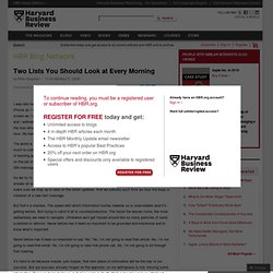 Two Lists You Should Look at Every Morning - Peter Bregman - Harvard Business Review