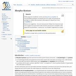 Morpho-Syntaxe