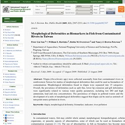 International Journal of Environmental Research and Public Health 2009, 6(8), 2307-2331 Morphological Deformities as Biomarkers