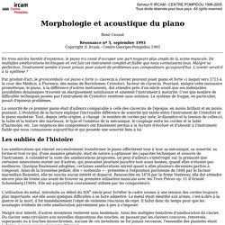 René Caussé: Morphologie et acoustique du piano (Résonance nº 5, septembre 1993). <!