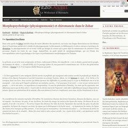 Morphopsychologie (physiognomonie) et chiromancie dans le Zohar « Magie & Kabbale « Kabbale