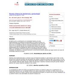 MORTALIDAD POR ABORTO EN CHILE: ANALISIS EPIDEMIOLOGICO 1985-2000