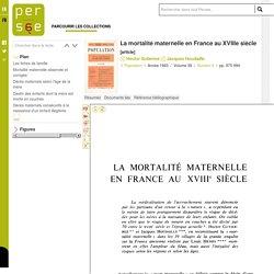 La mortalité maternelle en France au XVIIIe siècle