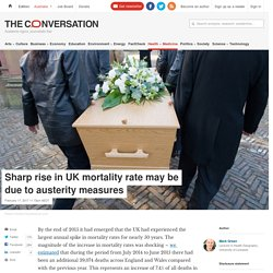 Sharp rise in UK mortality rate may be due to austerity measures