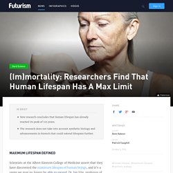 Research Finds Human Lifespan Has A Max Limit: 125