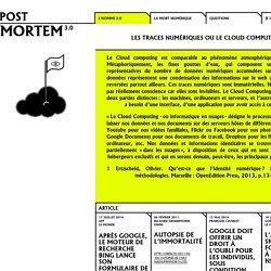 Post-Mortem 3.0 Homme2.0 Sujets les traces numériques ou le cloud computing