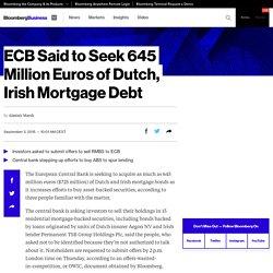 ECB Said to Seek 645 Million Euros of Dutch, Irish Mortgage Debt