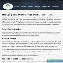 Managing Your Debts through Debt Consolidation - Expert Mortgage Canada