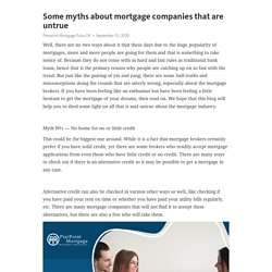 Some myths about mortgage companies that are untrue