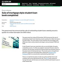 Sale of mortgage style student loan book completed - Press releases