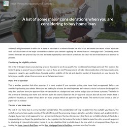 A list of some major considerations when you are considering to buy home loan