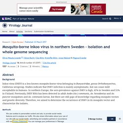 VIROLOGY JOURNAL 23/03/17 Mosquito-borne Inkoo virus in northern Sweden - isolation and whole genome sequencing